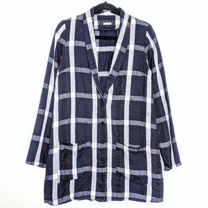 Reformation oversized plaid linen blazer